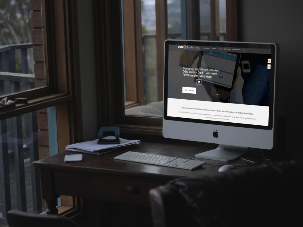 Bildschirm mit OSG-Trade Website